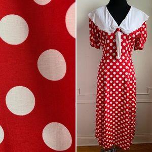 Vintage Red and White Polka Dot Midi Dress